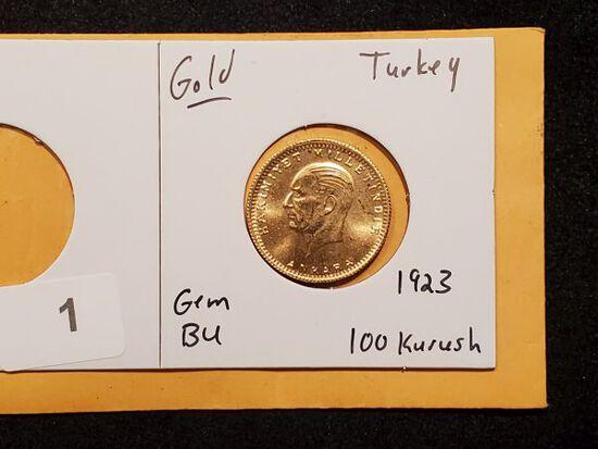 GOLD! 1923 Turkey 100 Kurush in Gem Brilliant Uncirculated