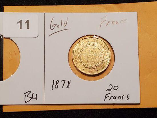 GOLD! 1878 France 20 francs Brilliant Uncirculated