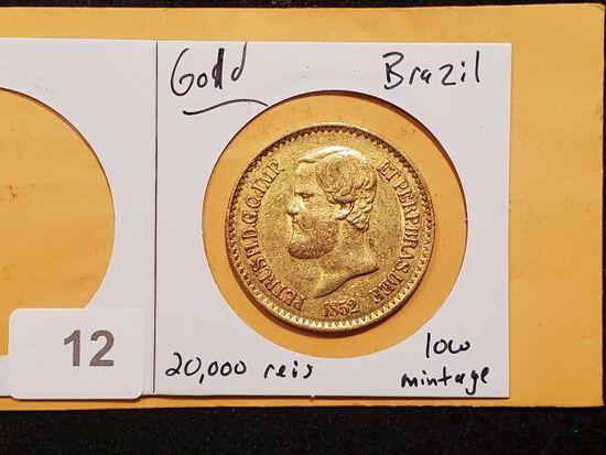 **GOLD! WOW! 1852 Brazil 20,000 reis