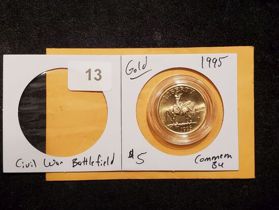 GOLD! 1995 Civil War Battlefied $5 Commemorative