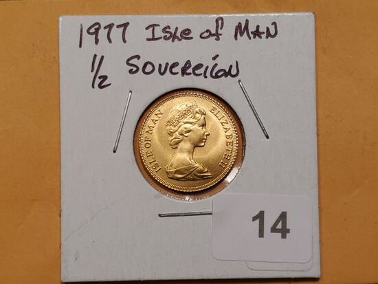 GOLD! 1977 Isle of Man 1/2 Sovereign