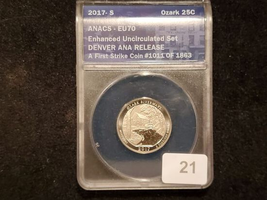 ANACS 2017-s Enhanced Uncirculated Ozark Riverways Quarter 70