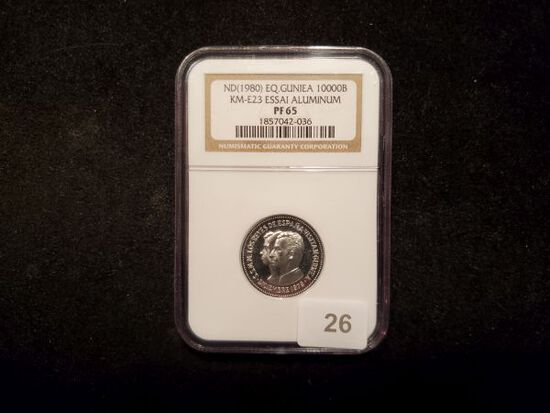 ***RARE PATTERN COINAGE!! NGC 1980 Equitorial Guinea