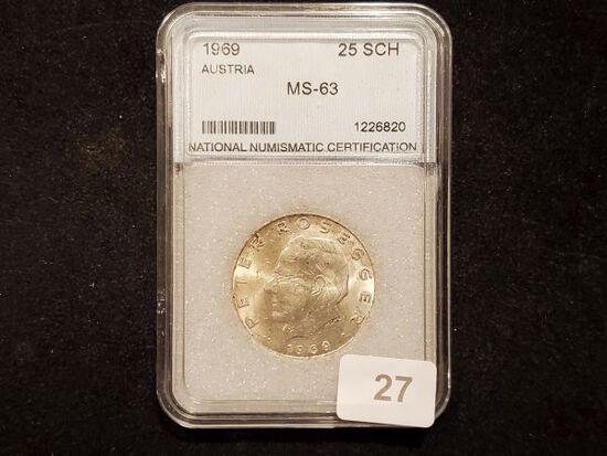 Slabbed 1969 silver Austria 25 schillings