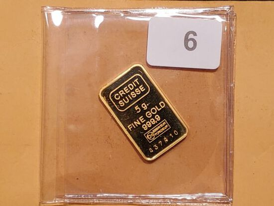 GOLD! Credit Suisse 5 gram gold bar