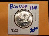 1968-D Kennedy Half Dollar with a Rim Clip