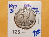 Semi-Key Date 1917-D Walking Liberty Half Dollar