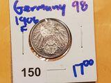 1906-F GERMAN SILVER ONE MARK