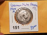GERMAN STATES- PRUSSIA SILVER 1904-A TWO MARK
