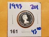 1993 proof silver one pound coin from Bailwick of Jersey