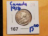 1918 Canadian silver quarter