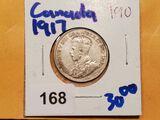 1917 silver Canadian quarter