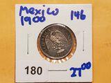 Mexican 1900 silver 20 centavos