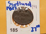 Scottish communion token dated 1827 Couper angus