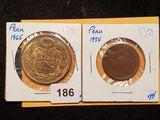 Peru's 1934 dos centavos and 1965 un solde oro