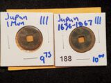 2 JAPANESE ONE MON COINS MINTED FROM 1636-1867