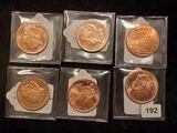 Six half-Ounce Copper bullion rounds