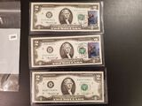 Three SERIES OF 1976 TWO DOLLAR NOTES