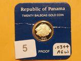 GOLD! Panama 1983 Twenty Balboas Coin