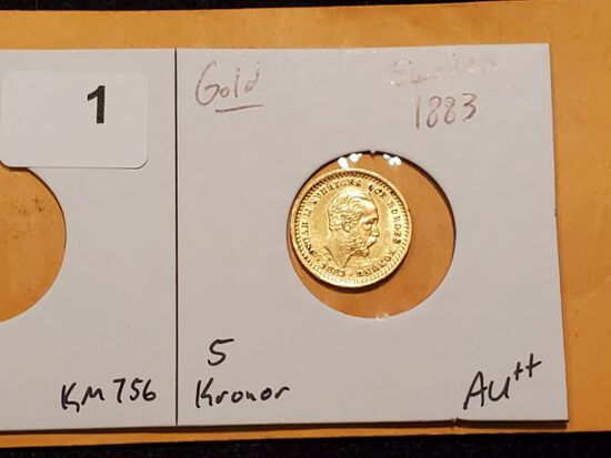 GOLD! Beautiful Sweden 1883 gold 5 kronor in About Uncirculated ++