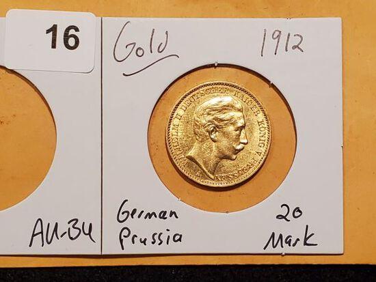 GOLD! 1912 German States Prussia 20 Mark in AU-BU