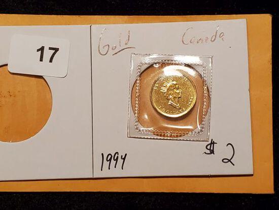 GOLD! Canada 1994 $2 Dollar Maple Leaf