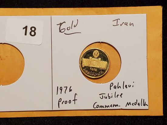 GOLD! Iran 1976 Gold Proof Coin