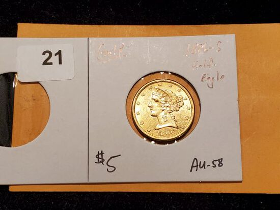 GOLD! 1886 Half-Eagle $5 Liberty head in About Uncirculated 58
