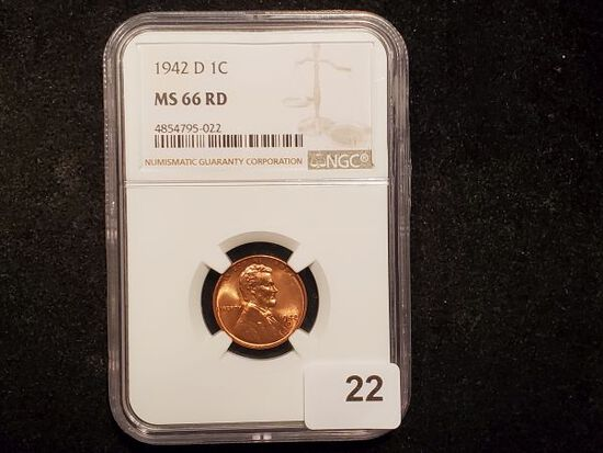 NGC 1942-D Wheat Cent in MS-66 RED