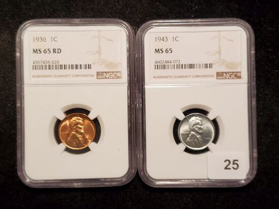 Two high Grade NGC-slabbed Wheat Cents