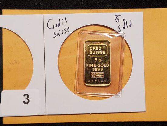 GOLD! 5 Gram Credit Suisse bar