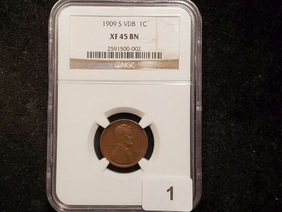 HERE WE GO! KEY DATE NGC 1909-S VDB Wheat Cent in Extra Fine 45!!