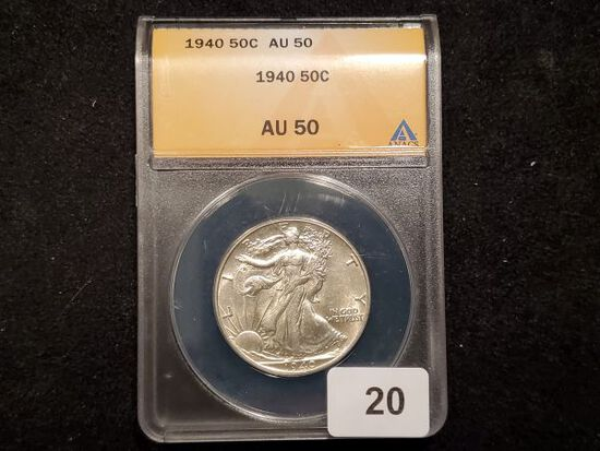 ANACS 1940 Walking Liberty Half Dollar in About Uncirculated 50