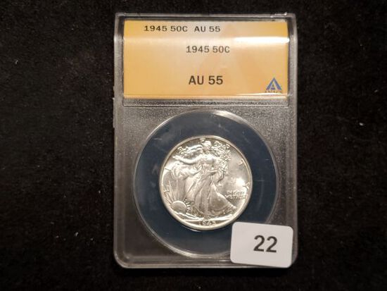 ANACS 1945 Walking Liberty Half Dollar in About Uncirculated 55