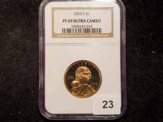 NGC 2004-S Native American Dollar in Proof 69 Ultra Cameo