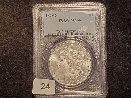 Purty PCGS 1879-S Morgan Dollar in MS-64