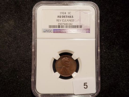 NGC 1924 Wheat Cent in About Uncirculated - details
