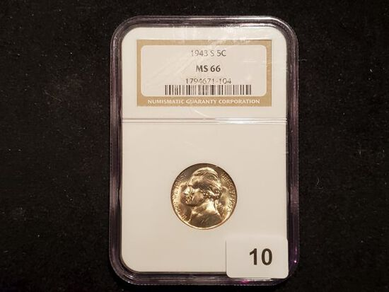 NGC 1943-S Silver Wartime Jefferson Nickel in MS-66