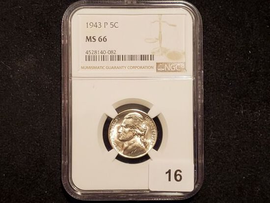 NGC 1943-P Silver Wartime Jefferson Nickel in MS-66