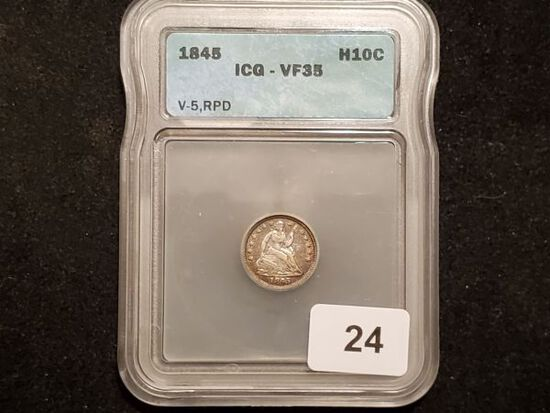 VARIETY! ICG 1845 Seated Liberty Half Dime Repunched Date