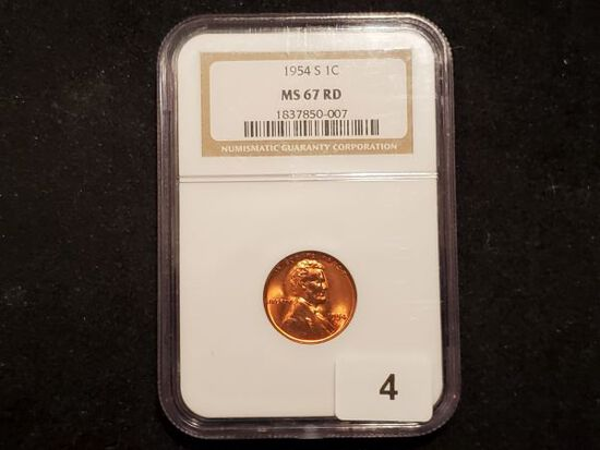 NGC 1954-S Wheat Cent in MS-67 RED