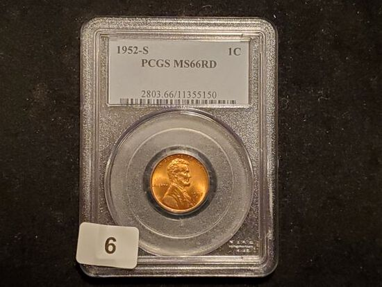 PCGS 1952-S Wheat cent in MS-66 RED