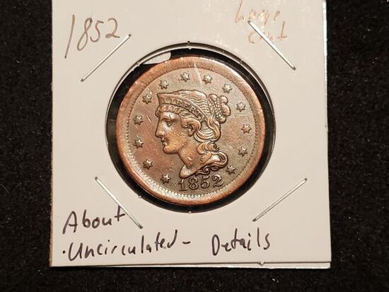 1852 Braided Hair Large Cent in About Uncirculated details