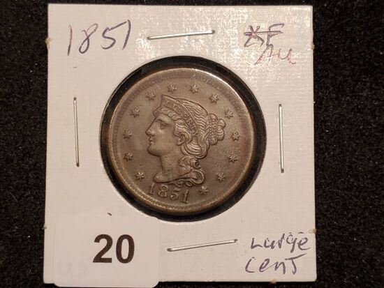 Purty 1851 Braided Hair Large Cent in About Uncirculated