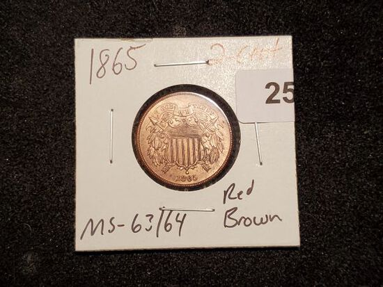 **HERE'S A STUNNER!!! 1865 Two-cent piece in MS-63/64 Red-Brown