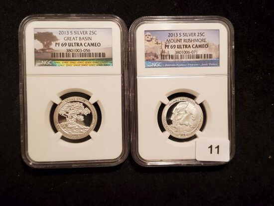 Two 2013-S NGC SILVER America The Beautiful Quarters