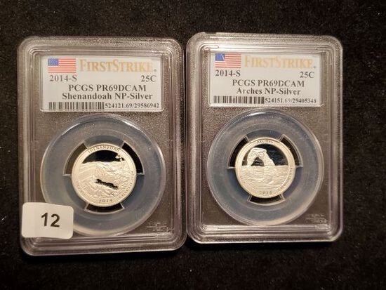 Two 2014-S PCGS SILVER America The Beautiful Quarters