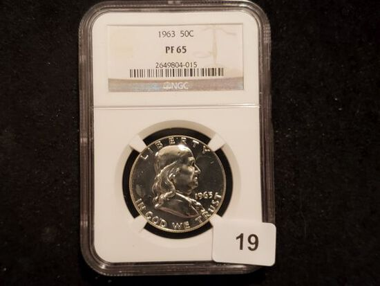 NGC 1963 Franklin Half Dollar in Proof 65