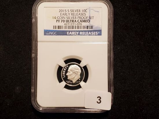 NGC 2015-S SILVER Roosevelt Dime Proof 70 Ultra Cameo