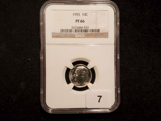 NGC 1955 Roosevelt Dime in Proof 66
